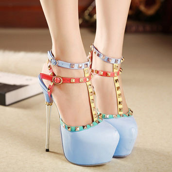 Rivet High Heel Stylish Fashion Shoes = 4814668932