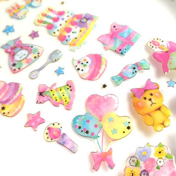 candy sticker cupcake candy bag candy seal sticker party dessert label birthday cake teddy bear deco baby shower card kids party gift