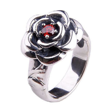 Ruby Red Gem Stone Ring Sterling Silver Fine Jewelry Apparel-Size 10