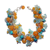 Light Blue Lily, Yellow and Turquoise Beaded Cluster Bracelet, 8 Inches