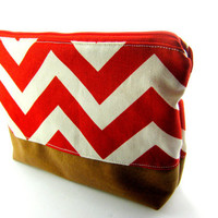 Red And Cream Chevron Makeup Bag with Vegan Leather Botton, Large Cosmetic Pouch, Poncho Style, Zippered, Lined, Canvas, Under 20, Southern