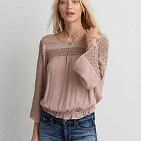 AEO Bell Sleeve Crochet Top , Gray