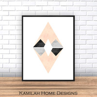 Minimalist Art, Abstract Art Print, Scandinavian Art, Triangle Print, Geometric Print, Art Print, Giclee print, Modern Art, Wall Art, Poster