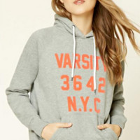 Letter Print Hooded Long Sleeve Sweater Women Casual Hoodie Sweatshirt Tops