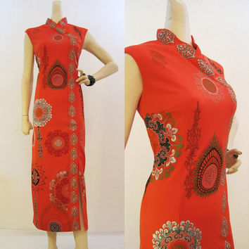 Alfred Shaheen 70s Vintage Red Hawaiian Asian Inspired Long Dress M L