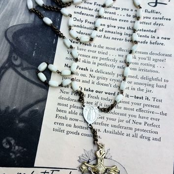 Hand blown white glass Mary and Christ vintage rosary