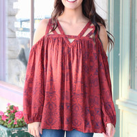 Floral Print Open Shoulder Strappy Blouse {Rust}