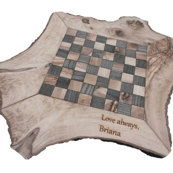 Engraved Unique Olive Wood Chess Set, Personalized Natural Edges Rustic Chess Bo