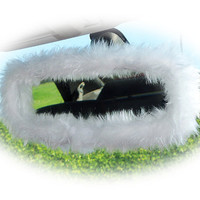 Snow white faux fur furry fluffy fuzzy rear view interior car mirror cover