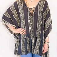 Tibal Print Cover Up - ONE SIZE FITS