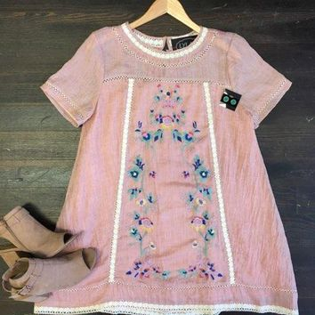 Island Dreams Embroidered Dress: Pink