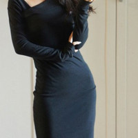 Black Skew Collar Long Sleeve Bodycon Dress