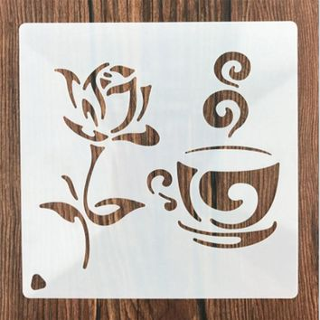 Coffee Rose Flower Shaped Reusable Stencil Airbrush Painting Art Cake Spray Mold DIY Decor Crafts