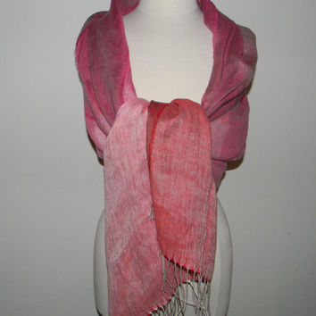 Vintage shawl, scarf in a cotton mix , perfect for summer or for a wedding, pinkish red