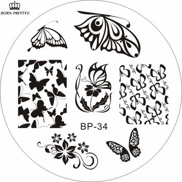 Romantic Butterfly Patterns Nail Art Stamp Template Image Plate Nail Stamp Plate BORN PRETTY BP34