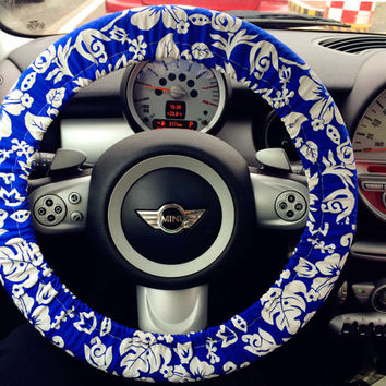 Blue Blossom blossoming flowers Print Car Steering wheel cover, Flowers Auto Steering Cover, Car Decor, Automobile Wheel cover