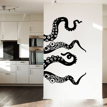 Wall Decal Vinyl Sticker Decals Art Home Decor Design Murals Octopus Tentacles Fish Deep Sea Ocean Animals Fashion Bedroom Bathroom Dorm AN3
