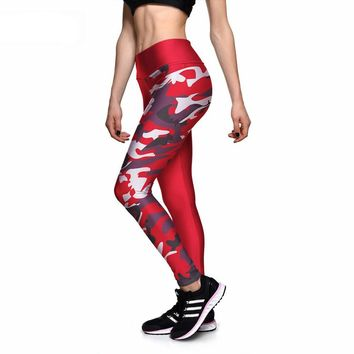 Red Camouflage Athletic Leggings
