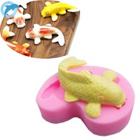LINSBAYWU 1pc Koi Fish Cartoon Silicone Fondant Cake molds 3D Fish Candle Moulds Soap Chocolate Mould for The Baking Tools