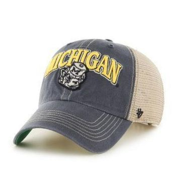 ICIKG8Q NCAA Michigan Wolverines Tuscaloosa Vintage Clean Up Adjustable Hat