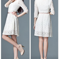 Lace Long Sleeve Princess Dress Embellished with Black Lace Flower