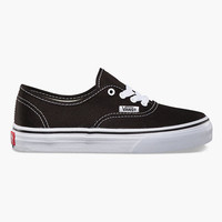 Vans Authentic Boys Shoes Black/True White  In Sizes