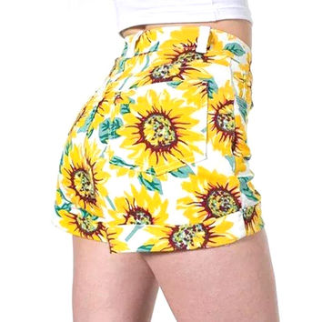 5a13 Fashion Ladies Vintage Sunflower Print Denim Shorts High Waisted Pocket Zipper Yellow Casual Short Jeans For Women