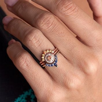 Womens Unique Created Orange and Blue Sapphire Sunset Ring Set