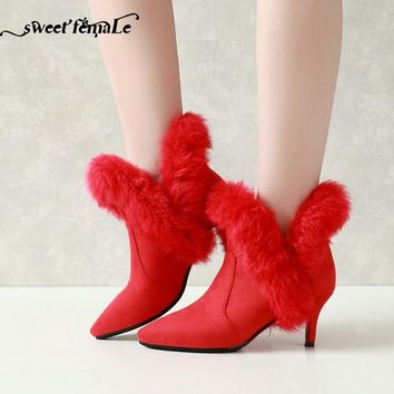 High quality leather Fashion Fur Women's shoes Plus size Autumn Winter Short boots Women High heel Red Wedding shoes Black White