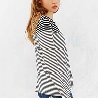 Mouchette Modern Mixed-Stripe Tee- Black & White