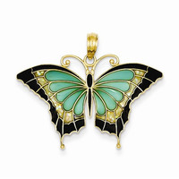 14k Yellow Gold Aqua Butterfly Wings Pendant