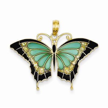 14k Yellow Gold Aqua Butterfly Wings Pendant abea67580522
