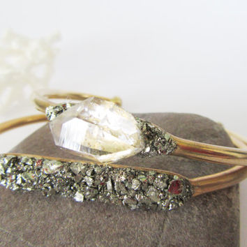 Boho Cuff Bracelet // Raw Crystal and Pyrite Minerals