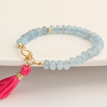 Gold Filled Blue Jade Tassel Bracelet