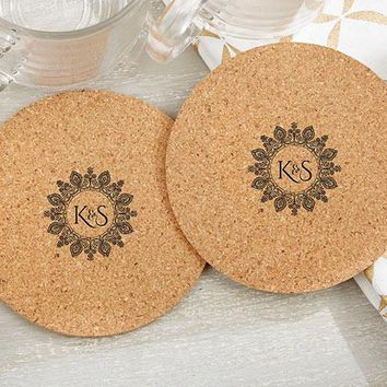Personalized Round Cork Coasters - Indian Jewel (Set of 12)
