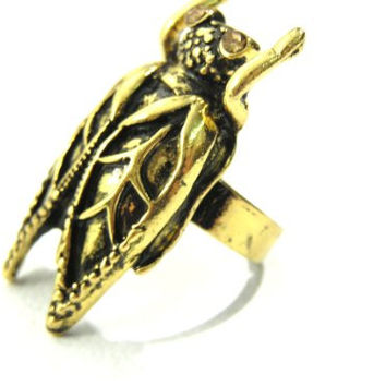 Cicada Fly Cocktail Ring Adjustable Gold Tone Beetle Bug Insect RF11 Fashion Jewelry