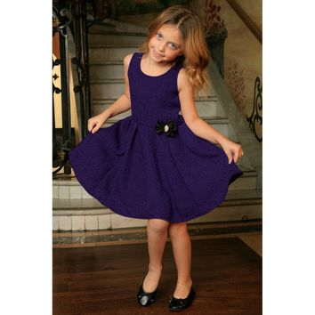 Purple Floral Sleeveless Skater Cute Fit and Flare Party Dress - Girls