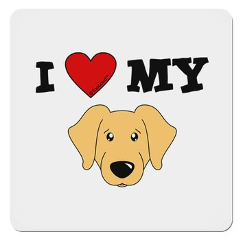 """I Heart My - Cute Golden Retriever Dog 4x4"""" Square Sticker by TooLoud"""