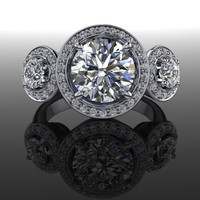 Forever Brilliant Moissanite Three Stone Halo Engagement Ring 2.75 CTW