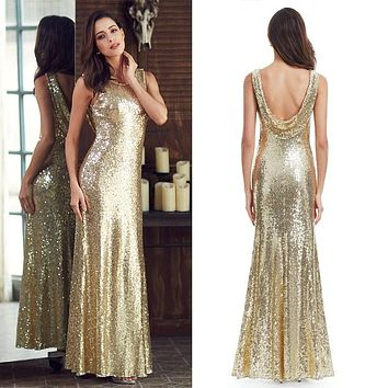 Long Sparkle Prom Dresses Ever Pretty 2017 New V-Back Women Elegant XXDG01170PEC Sequin Mermaid Maxi Party Dresses
