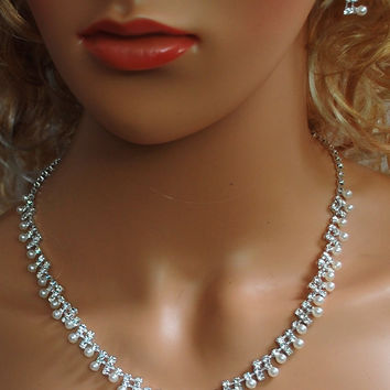 """Bridal Wedding Prom Pageant Crystal Necklace and Earring Set, 18"""" with Adjustable Chain N1Y76"""