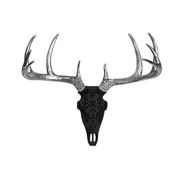 Large Carved Deer Head Skull | Faux Taxidermy | Black + Silver Antlers Resin