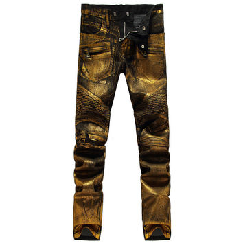 The stunning gold coated locomotive fold jeans
