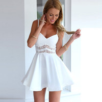Spaghetti Strap V Neck Lace Accent Mini Skater Dress