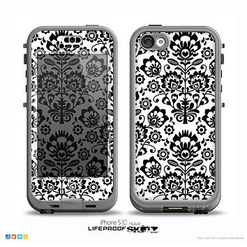 The Black Floral Delicate Pattern Skin for the iPhone 5c nüüd LifeProof Case