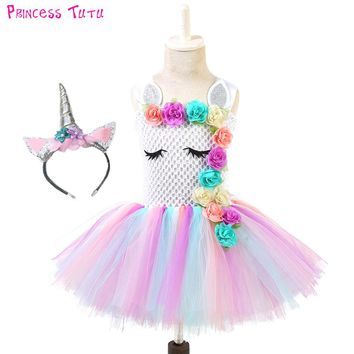 Sliver Pastel Girl Unicorn Birthday Party Tutu Dress With Matching Headband Flowers Girls Pony Unicorn Theme Halloween Costume