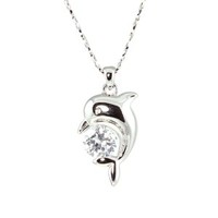14K White Gold Plated Adorable CZ Diamond Dolphin Pendant Necklace 16.5'' w/ 2.25'' Extension | le Jane Fashion Jewelry