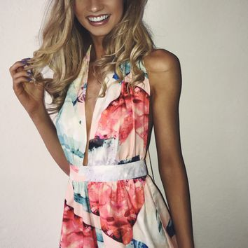 Crystal Candy Floral Romper Multi