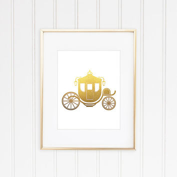 Carriage Print, Fairytale Carriage, Faux Gold Foil, Gold Foil Print, Gold Leaf Art, Princess Carriage, Minimalist Art, Wedding Gift