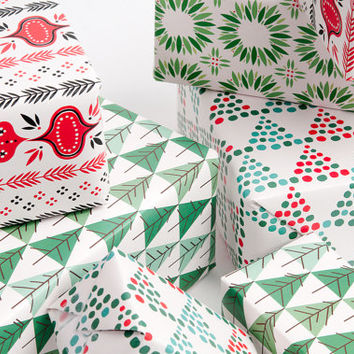 Mid-Century Modern Christmas Gift Wrap - 12 Sheets